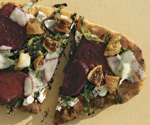 Grilled Goat Cheese Pizza with Figs, Beets, and Wilted Greens
